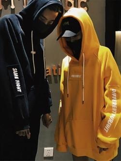 เสื้อคู่รักเกาหลี เสื้อฮู้ดแจ็คเก็ต แนวOversize แต่งแขนเสื้อ มี3สี