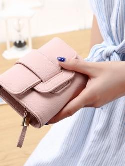 กระเป๋าสตางค์เกาหลี แต่งสายรัดเข็มขัด มี4สี
