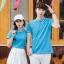 Pre Order เสื้อโปโลคู่รักแฟชั่น สไตล์เกาหลี แต่งลายคลาสสิก สีฟ้า thumbnail 1