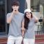 Pre Order เสื้อโปโลคู่รักแฟชั่น สไตล์เกาหลี แต่งลายคลาสสิก สีเทาอ่อน thumbnail 1