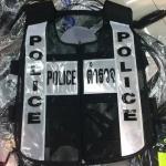 เสื้อสะท้อนแสง POLICE / ตำรวจ ซิป ดำ-ขาว