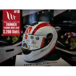 หมวกกันน็อคMT Thunder Technik Gloss White Red