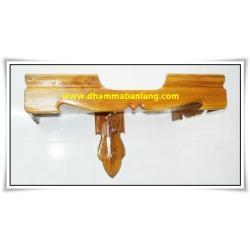 หิ้งพระขอบบัว ไม้สัก สีไม้สักธรรมชาติ มีให้เลือก 8 ขนาด (หน้ากว้าง 30 - 100 ซม.)