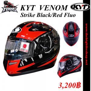 หมวกกันน็อค KYT รุ่น Venom Strike Black/Red Fluo