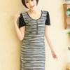 ++เสื้อผ้าไซส์ใหญ่++* Pre-Order* ชุดเดรสเกาหลีไซส์ใหญ่คอกลมแขนสั้นสลับลายสีแต่งซิปด้านหน้าสวยจ้า