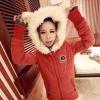 ++สินค้าพร้อมส่งค่ะ++ เสื้อ coat jacket เกาหลี ตัวยาว แขนยาว มี hood หูกระต่าย ดีไซด์น่ารัก มี 2 สี สี แดง