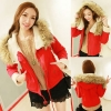 ++สินค้าพร้อมส่งค่ะ++ เสื้อ jacket เกาหลี แขนยาว มี hood ผ้าฝ้ายซับในด้วยขนแกะ แต่งเฟอร์รอบ hood มี 2 สีค่ะ – สีแดง