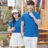 Pre Order เสื้อโปโลคู่รักแฟชั่น สไตล์เกาหลี แต่งลายคลาสสิก สีน้ำเงิน