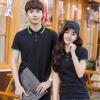 Pre Order เสื้อโปโลคู่รักแฟชั่น สไตล์เกาหลี แต่งลายคลาสสิก สีดำ