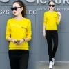 Pre Order ชุดวอร์มแฟชั่นเกาหลี เสื้อแขนยาวแต่งลาย Kacoqvn+กางเกงขายาว มี5สี