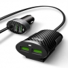 LDNIO C502 ที่ชาร์จมือถือในรถยนต์แปลงที่จุดบุหรี่ในรถยนต์เป็น 4 USB Car Charger 5.1A Auto ID Chip