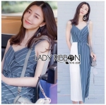 Lady Betty Two-Tone Striped Twisted Dress