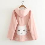 เสื้อคลุมผ้าแคนวาส มีฮู๊ต ปักลายแมวด้านหลัง สีชมพู