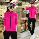 Pre Order ชุดวอร์มสไตล์เกาหลี เสื้อแจ็คเก็ตแขนยาวพิมพ์ลาย+กางเกงขายาว มี4สี