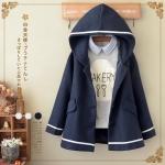 เสื้อกันหนาวมีฮู๊ตสไตล์ญี่ปุ่น ผ้าขนสัตว์บุผ้าซับใน สีนำ้เงินเข้ม