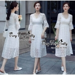 Luxurious Classic V-neck Floral White Lace Dress