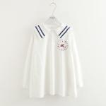 เสื้อผ้าฝ้ายลำลองตัวยาว สีขาวแขนยาว ปกทหารเรือคาดสีนำ้เงิน ปักลายการ์ตูนที่อก