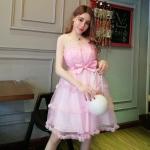 เดรสออกงานสไตล์เจ้าหญิงแขนกุดสีชมพู ช่วงบนเป็นผ้ามุ้งสีครีม