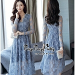 Luxury Vintage embroidered Flowers Lace Dress