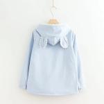 เสื้อกันหนาวมีฮู๊ตหูกระต่าย ผ้าแคนวาส ด้านในบุผ้านุ่ม พร้อมส่งสีฟ้า