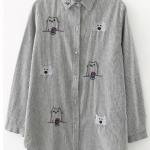 เสื้อเชิ๊ตลำลองตัวยาว ลายทางสีเทาปักลายแมว