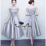 Luxurious Classic Floral Silver Lace Dress