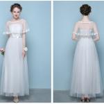เดรสราตรียาวออกงานงานสีขาว + ผ้าคลุมซีทรู ผ้าคลุมปักดอกไม้เหมือนแบบ