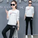 Pre Order ชุดวอร์มแฟชั่นเกาหลี เสื้อแขนยาวพิมพ์ลาย+กางเกงขายาวแต่งแถบข้าง มี5สี