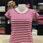 """เสื้อยืดคอกลม ลายริ้ว สีชมพูบานเย็น+ขาว size """"M"""""""