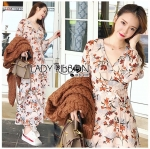 Lady Anne Autumn Flower Printed Chiffon Dress with Flower Belt