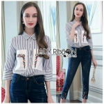 Lady Polly Casual Street Striped Shirt and Embroidered Denim Set