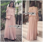 Lady Eva Off-Shoulder Baby Pink Pleated Maxi Dress