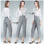Lady Elisa Preppy Chic Star Silk Shirt and Cotton Overall