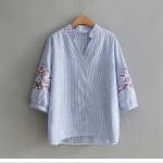 เสื้อลำลองผ้าฝ้ายคอวี แขนห้าส่วน ปักลายแบบครอสติชที่แขนเสื้อ