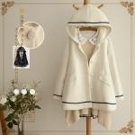 เสื้อกันหนาวมีฮู๊ตสไตล์ญี่ปุ่น ผ้าขนสัตว์บุผ้าซับใน สีขาว