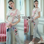 Lady Carla Sweet Street Chic Flamingo Embroidered T-Shirt and Denim Set