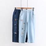 กางเกงห้าส่วนผ้าฝ้ายเดนิม ปักลายการ์ตูน