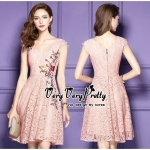 Luxurious Flower Embroidered Lace Korea Dress