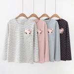 เสื้อยืดคอกลมน่ารัก แขนยาวลายทาง แต่งกระเป๋าปะ ปักรูปหัวน้องแมวสีชมพู