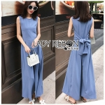 Lady Piper Ribbon Twisted Plain Jumpsuit