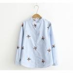 เสื้อเชิ๊ตเข้ารูป ลายทางสีฟ้า ปักลายดอกไม้สีส้ม