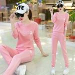 Pre Order ชุดวอร์มแฟชั่นเกาหลี เสื้อแขนยาวแต่งลาย masld+กางเกงขายาว มี5สี