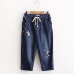 กางเกงลำลองห้าส่วน ผ้าฝ้ายสียีนส์นำ้เงินเข้ม ปักลายน้องแมว เอวรูดผูกเชือก