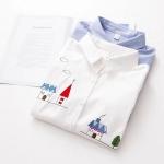 เสื้อเชิ๊ตเข้ารูป น่ารัก สีขาว ปักลายบ้านและแมว