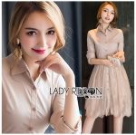 Lady Anna Sweet and Smart Cotton and Lace Shirt Dress