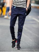 **พร้อมส่ง**กางเกงขายาวสุดเท่ห์ แต่งลายคลาสสิก ขาจั๊ม สีน้ำเงินเข้ม ไซส์ L