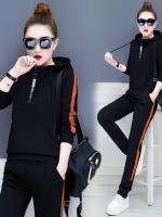 Pre Order ชุดวอร์มแฟชั่น เสื้อแขนยาวมีฮู้ด+กางเกงขายาวแต่งแถบข้าง มี4สี