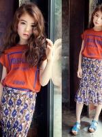 ชุดเซทเด็กเกาหลี เสื้อแขนสั้นสีส้ม+กระโปรงลายดอกไม้ แนวยุโรป