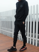 Pre Order ชุดวอร์มแนวสปอร์ต ดีไซน์เท่ห์ทันสมัย เสื้อมีฮู้ดแต่งลาย+กางเกงขายาว