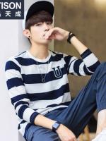 เสื้อยืดแขนยาวเกาหลี EPTISON พิมพ์ลายแถบขวาง มี2สี